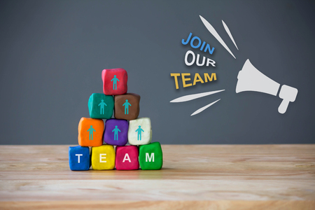 Business team building , Human Resource Management and Recruitment concept with megaphone and text Join Our team Stock Photo