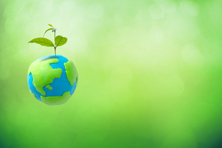 Planting tree in green globe , Environment conservation on green background