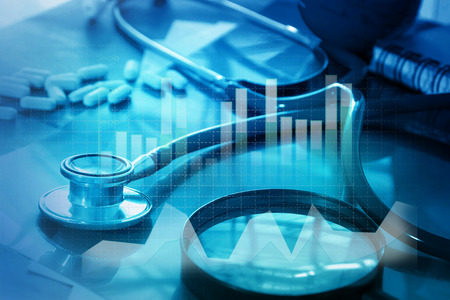 Medical examination and healthcare business graph Standard-Bild