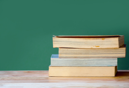 stack of books on table