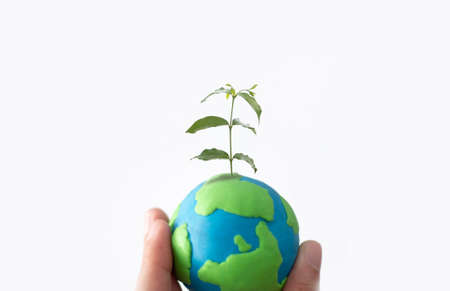 Planting tree in green globe in hand , Environment conservation ,CSR Abbreviation or Corporate Social Responsibility Standard-Bild