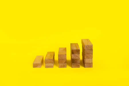 bar graph with wood blocks