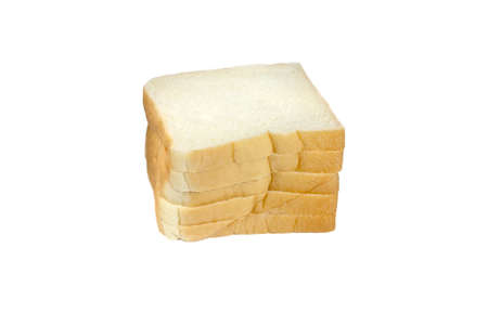 stack of sliced bread on a white background