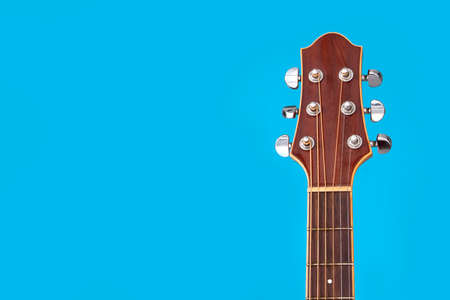 acoustic guitar with blue background Standard-Bild