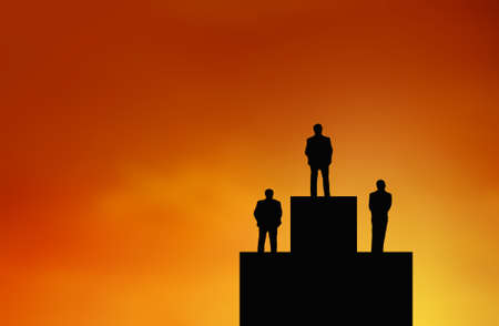 Silhouette of Businessman stand on winner stand , archievement , success and leadership concept.