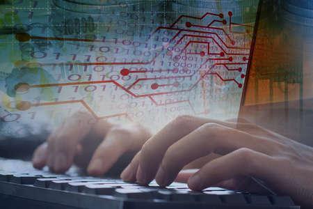 Stock online trading , digital data transformation , financial innovation platform 免版税图像