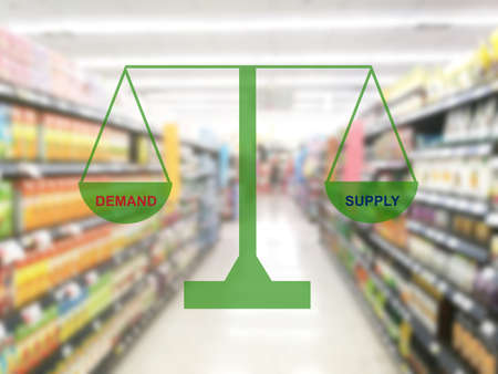 demand and supply with blur image of super market , Supply chain management concept Standard-Bild