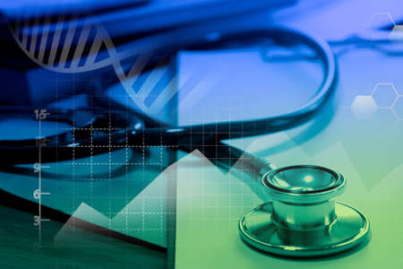 Medical examination and healthcare business concept, Big Data for health statistics analysis