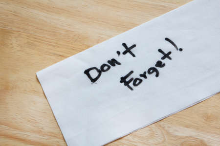 message Don't Forget on tissue paper