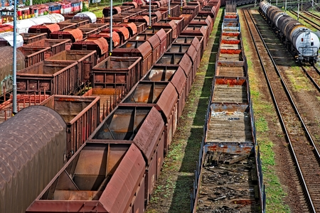 goods train: Empty cargo trains at railroad station from above Stock Photo