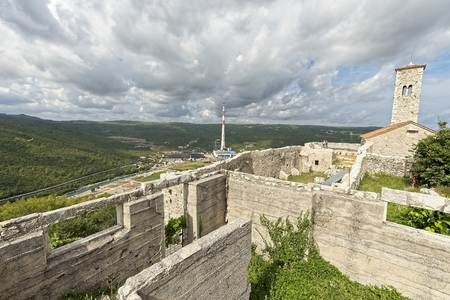 Ancient city Plomin, bay and power station in a Summer. Istria, Croatia. Archivio Fotografico - 115168810
