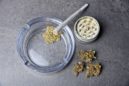 Close up of cannabis - marijuana buds and accessories - grinder, ashtray and rolled joint - splif. Top view.