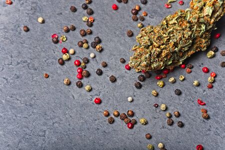 Cannabis bud with pepper. Caryophyllene terpene concept on grey background.