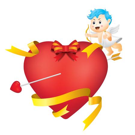 Illustration of Heart and Baby Angel Foto de archivo - 117926879