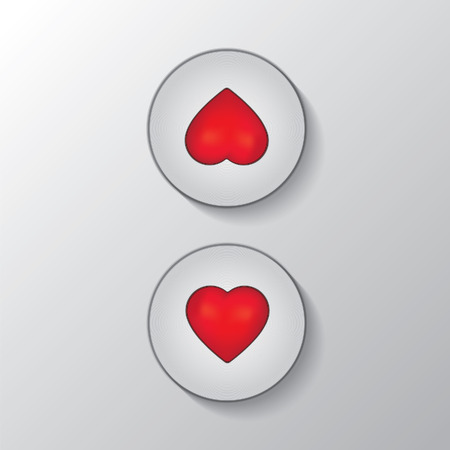 Heart button elevator illustration Çizim