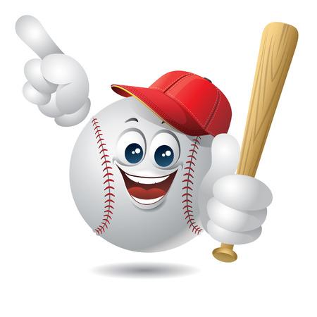 Baseball ball character with baseball hat Illustration