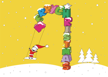 Santa Claus and Christmas on a swing