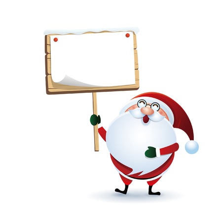 Happy Christmas and Santa Claus illustration with a note-paper