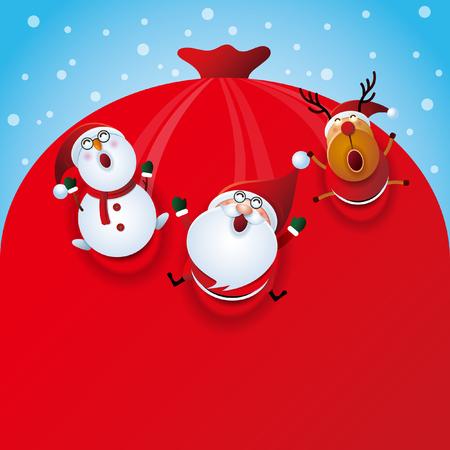 Happy Christmas and Santa Claus Illustration