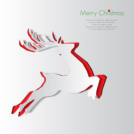 Happy Christmas and Paper Rudolph Illustration