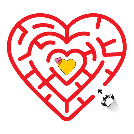 Hearted Maze and Valentines Day Ilustrace