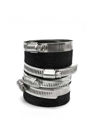 worm gear: black pipe wih metal hose clamp isolated on white