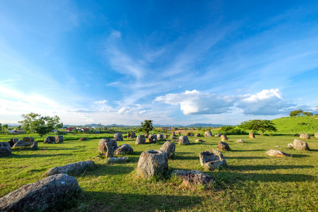 indochina: Plain of jars in Laos, history of ancient grave or shrines,Once is air raid shelter of Indochina war. Stock Photo