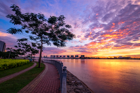 HO CHI MINH, VIETNAM - FEBRUARY 7, 2015 :Enjoy the Nha Rong wharf and Ben Nghe canal sunrise in Ho Chi Minh City Editorial