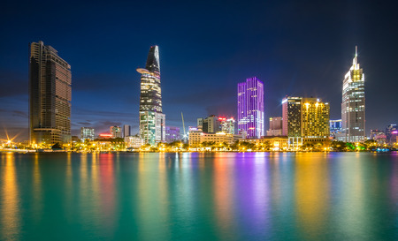 Colorful sunset on Sai Gon river. Ho Chi Minh city, Viet Nam Editorial