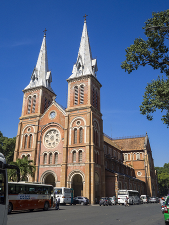 Notre Dame Cathedral (Vietnamese: Nha Tho Duc Ba), build in 1883 in Ho Chi Minh city, Vietnam. HOCHIMINH CITY (SAI GON), VIET NAM - January 18, 2016