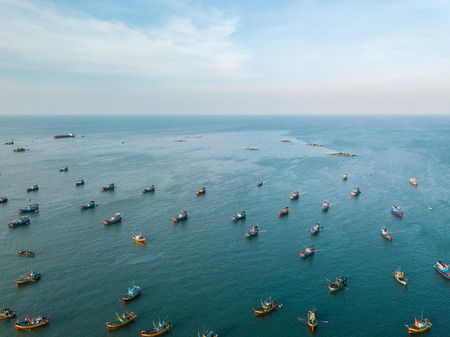 Top view. Aerial view from drone. Mui Ne fishing harbor or fishing village. Mui Ne fishing harbor is a popular tourist destination. Phan Thiet city, Vietnam Stock Photo