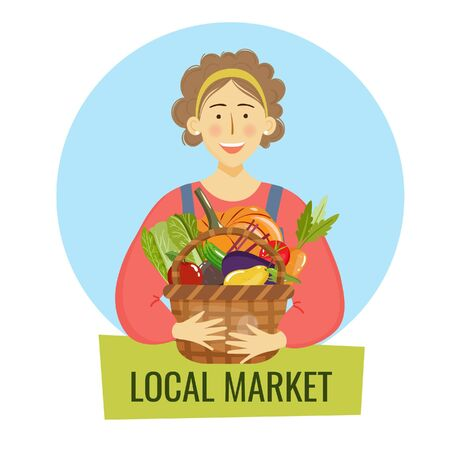 Young adult farmer woman holding a basket full of harvested fruits and vegetables. Vector illustration for logo design and advertisement of local peoducts Illustration