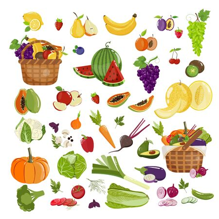 Vector collection with fruits and vegetables. Set with wicker baskets full of food Illustration
