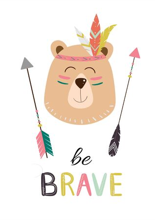 Cute indian bear, tribal animal with headband and feathers. Vector illustration for print, fabric design, cards, invitations.