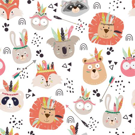 Seamless vector chuldish pattern with cute tribal animal faces. Scandinavian style illustration, indians with feathers