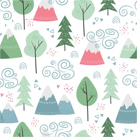 Seamless vector pattern with trees, mountains, weather clouds. Cute indian background for kids in scandinavian style.