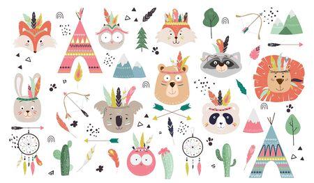 Big set with cute tribal inidan animals faces bear, bunny, fox, owl, panda, koala, lion, wigwam teepee, arrows, feathers, dream catcher, cactus, forest. Vector illustration.