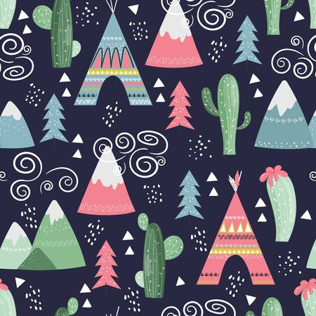 Seamless vector pattern with trees, mountains, tent, arrows, cactus, teepee wig wam. Cute indian background for kids in scandinavian style on dark background