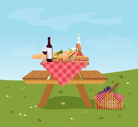 Wooden picnic table with benches on park background. Summer picnic with wine, basket, food, vegetables, fruits, sandwich. Vector illustration.
