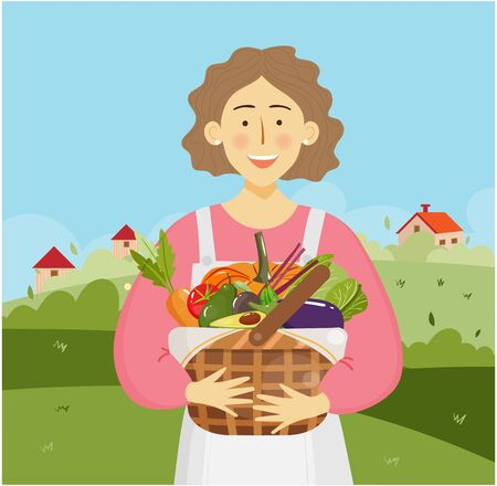 Young adult farmer woman holding a basket full of vegetables.