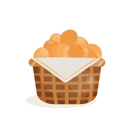 Vector illustration of eggs in a basket. Illustration