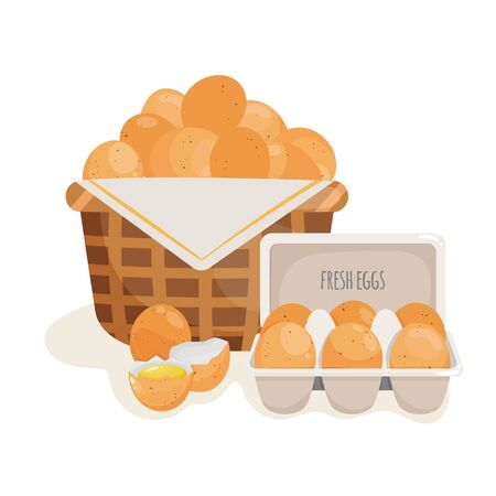 Vector illustration of eggs in a basket and in container.