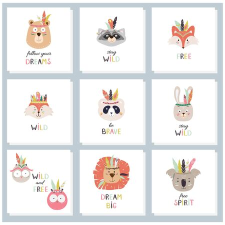 Set of cards with cute tribal, indian animals faces and decorative hand drawn text. Vector childish illustration for print, fabric design, cards, invitations. Illustration