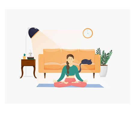 Cute beautiful woman practicing meditation in lotus pose. Doing yoga at home in the apartments. Interior with furniture and cute cat. Vector illustration, relaxation concept