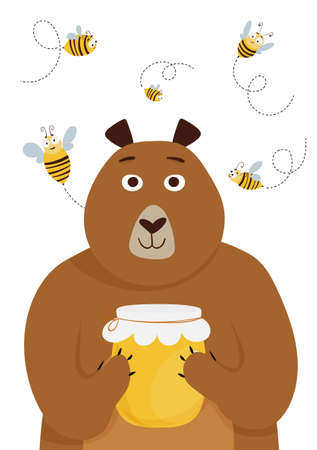 Card with cute cartoon bear holding a honey jar and bees. Vector illustration