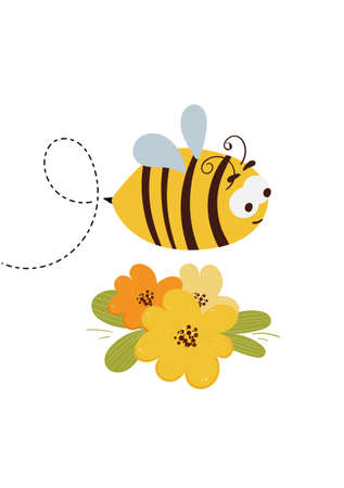 Card with cute cartoon flying honey bee and dotted route illustration Illustration