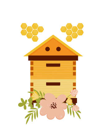 Card design with beehive and flowers illustration and concept for honey products design Illustration