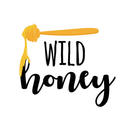 Wild honey label with honey spoon isolated on white background illustration with text