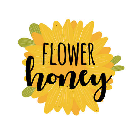 Flower honey label with flower isolated on white background illustration with text