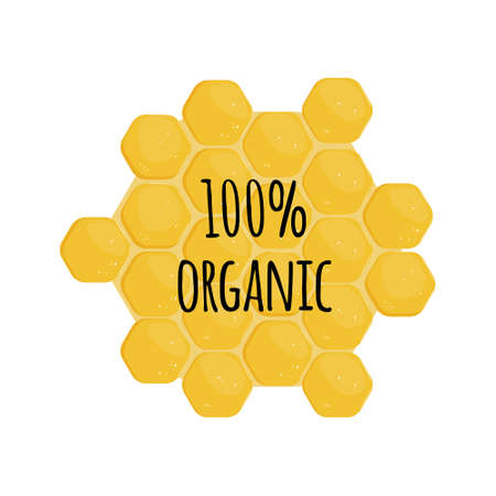 Organic honey label isolated on honeycomb background illustration with text